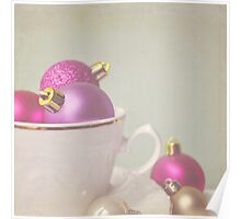 Pink and gold Christmas baubles in china cup Poster