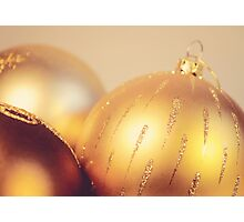 Gold Christmas baubles Photographic Print