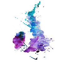 UK map in Watercolours Photographic Print