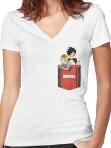 Pocket Kuroken Women's Fitted V-Neck T-Shirt