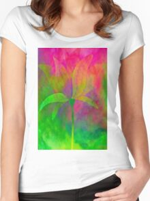 """Magnolia (from """"Painted flowers"""" collection) Women's Fitted Scoop T-Shirt"""