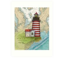 West Quoddy Lighthouse ME Chart Map Cathy Peek Art Print