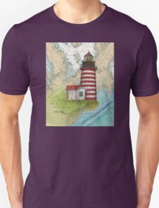 West Quoddy Lighthouse ME Chart Map Cathy Peek T-Shirt