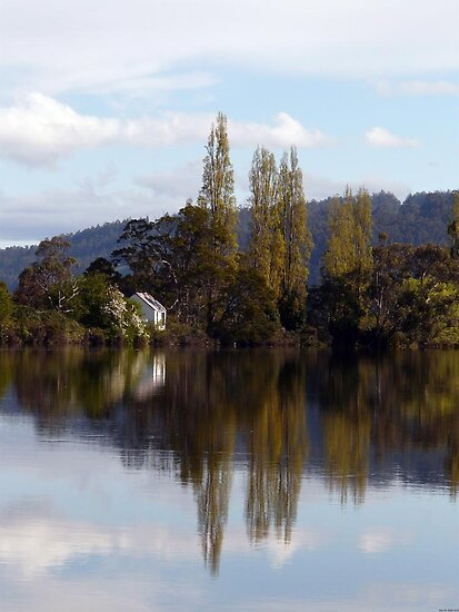 Breathtaking reflections on the Huon River , Huonville Tasmania Autralia by Christine Lovell