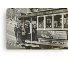 San Francisco Cable Car in B&W Canvas Print