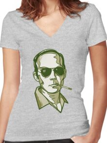Hunter S. Thompson green Women's Fitted V-Neck T-Shirt