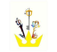 Kingdom Hearts Keyblade Crown Art Print