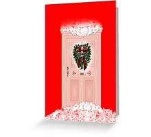 Merry Christmas to our neighbours with wreath on door Greeting Card