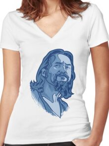 The Dude blue Women's Fitted V-Neck T-Shirt