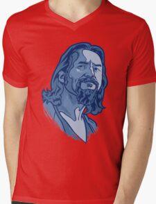 The Dude blue Mens V-Neck T-Shirt