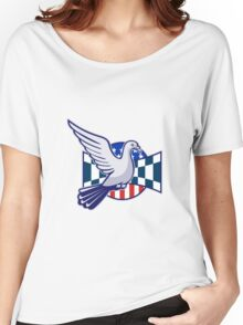 Racing Pigeon Race Flag American Stars Stripes  Women's Relaxed Fit T-Shirt