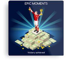 Football Champion Epic Moments Metal Print