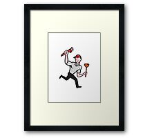 Plumber With Monkey Wrench And Plunger Cartoon Framed Print