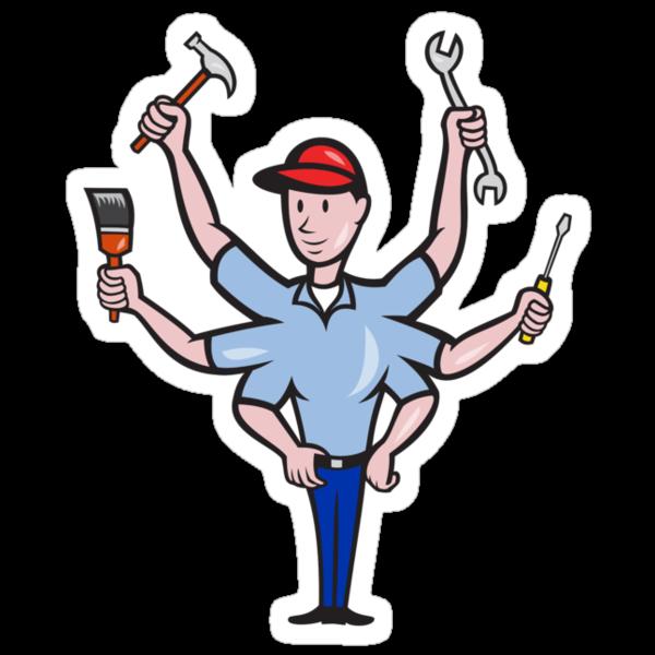 Tradesman Carpenter Mechanic Plumber Cartoon  by patrimonio