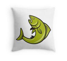 Trout Fish Jumping Cartoon  Throw Pillow