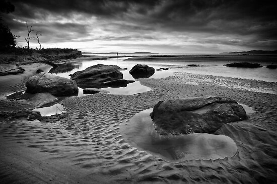Tyndall Beach, Kingston, Tasmania - B&W by Chris Cobern