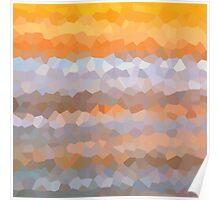 Bright Orange Gold Yellow Geometric Art Pattern Beach Abstract Poster