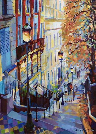 Paris Monmartr Steps by Yuriy Shevchuk