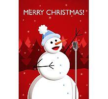 Happy Singing Snowman Christmas  Photographic Print