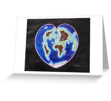 Heart map projection Greeting Card