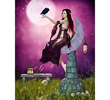 The Mystic Allure of Raven and Moon Photographic Print
