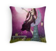 The Mystic Allure of Raven and Moon Throw Pillow