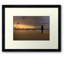 Anthony Gormley Iron Man On Crosby Beach Framed Print