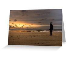 Anthony Gormley Iron Man On Crosby Beach Greeting Card