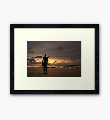 Anthony Gormley Iron Man On Crosby Beach At Sunset Framed Print