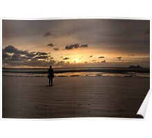 Anthony Gormley Iron Man On Crosby Beach At Sunset Poster
