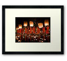 Monks and Lanterns Framed Print