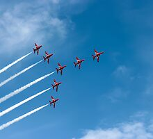 Red Arrows At The Southport Air Show by Paul Madden