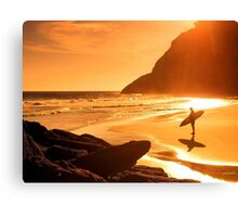 Amazing sunset on beach Canvas Print