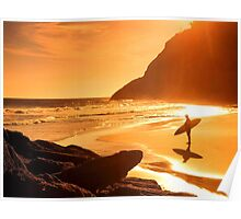 Amazing sunset on beach Poster
