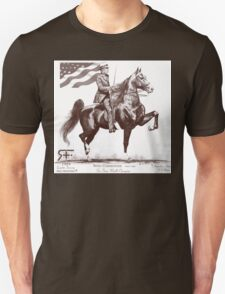 Red Frontier Wing Commander American Saddlebred Flag Drawing T-Shirt
