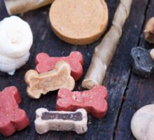 Dogfood sortiment, with dog food bones, sticks Sticker