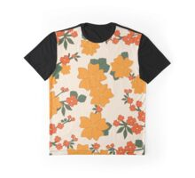 Flowers, Petals, Leaves, Blossoms - Orange Green Graphic T-Shirt