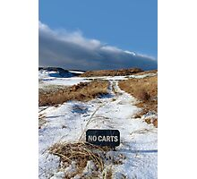 no carts sign on a snow covered links golf course Photographic Print