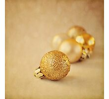 Gold glittery Christmas baubles Photographic Print