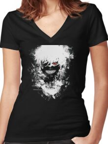 Tokyo Ghoul - The Eyepatch Ghoul (Black Version) Women's Fitted V-Neck T-Shirt