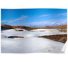 snowy covered links golf course with yellow flag Poster