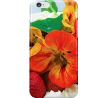 Cream cake, decorated with red and yellow cress flowers iPhone Case/Skin