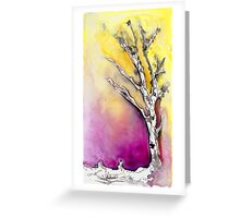 Silver Birch tree in the snow Greeting Card