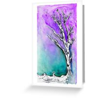 Silver Birch tree in the snow 2 Greeting Card