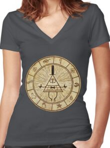 Bill Cipher Circle - Grafity Falls Women's Fitted V-Neck T-Shirt