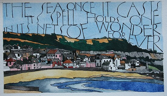 Lyme Bay sketch by samcannonart