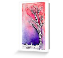 Silver Birch tree in the snow 3 Greeting Card