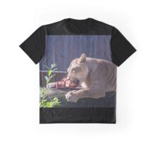 Female lion eating fresh red meat Graphic T-Shirt