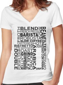 Black coffee...WORD!! Women's Fitted V-Neck T-Shirt