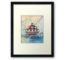 Thomas Pt Shoals Lighthouse MD Map Cathy Peek Framed Print